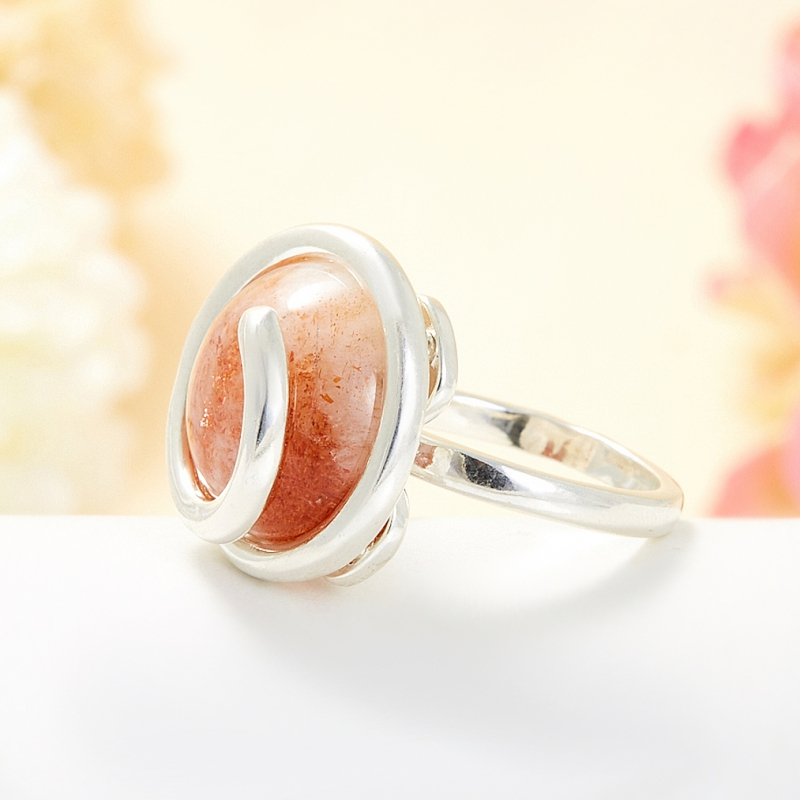 Кольцо солнечный камень Индия (серебро 925 пр.) размер 21