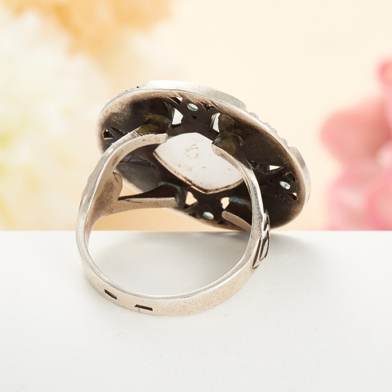 [del] Кольцо кахолонг Казахстан огранка (серебро 925 пр.) размер 15