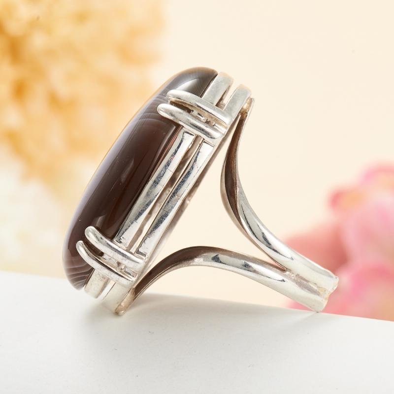 [del] Кольцо агат серый Ботсвана (серебро 925 пр.) размер 15