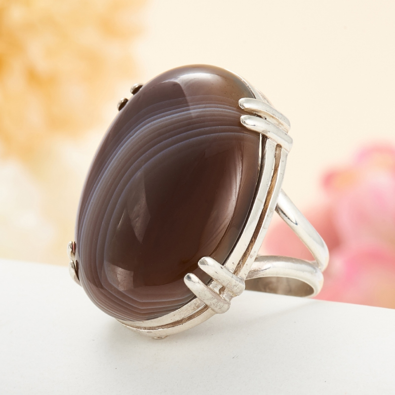 [del] Кольцо агат серый Ботсвана (серебро 925 пр.) размер 23