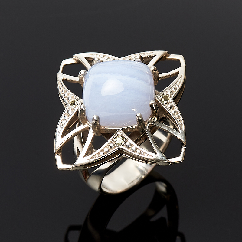 [del] Кольцо агат голубой Намибия (серебро 925 пр.) размер 17,5