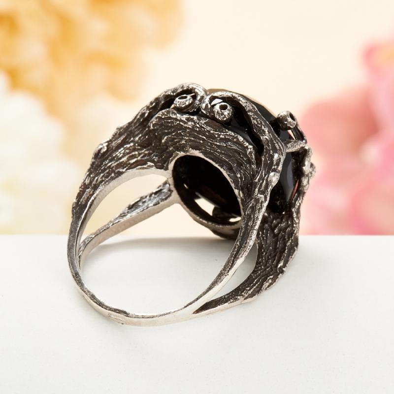 [del] Кольцо агат черный Бразилия огранка (серебро 925 пр.) размер 14