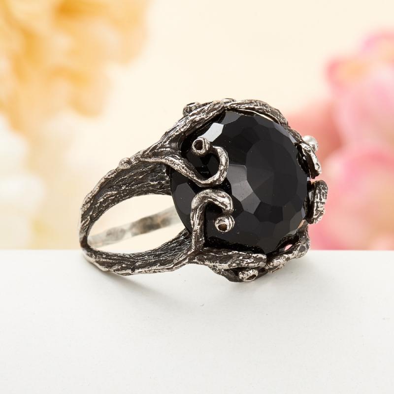 [del] Кольцо агат черный Бразилия огранка (серебро 925 пр.) размер 16,5