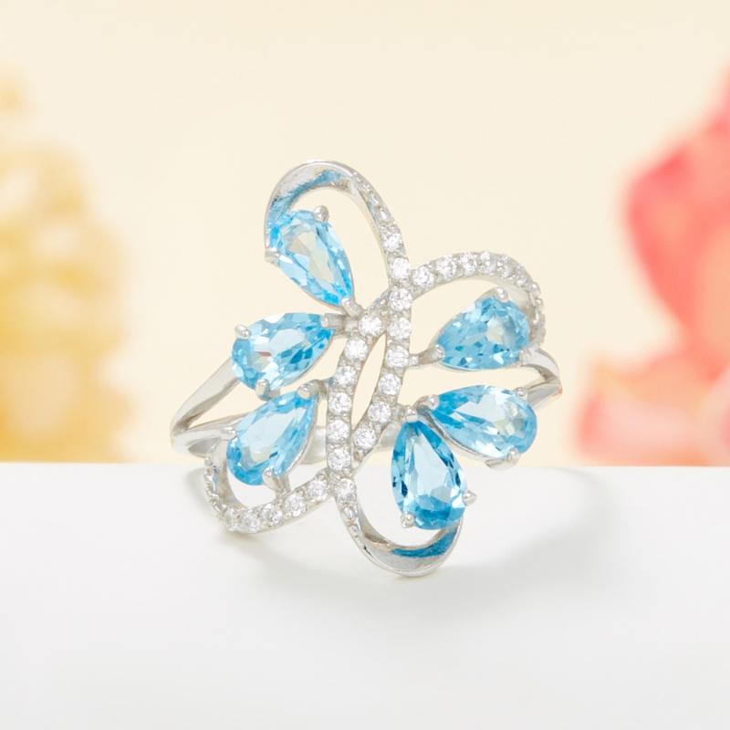 Кольцо топаз голубой огранка (серебро 925 пр.) размер 16 кольцо коюз топаз кольцо т142015055