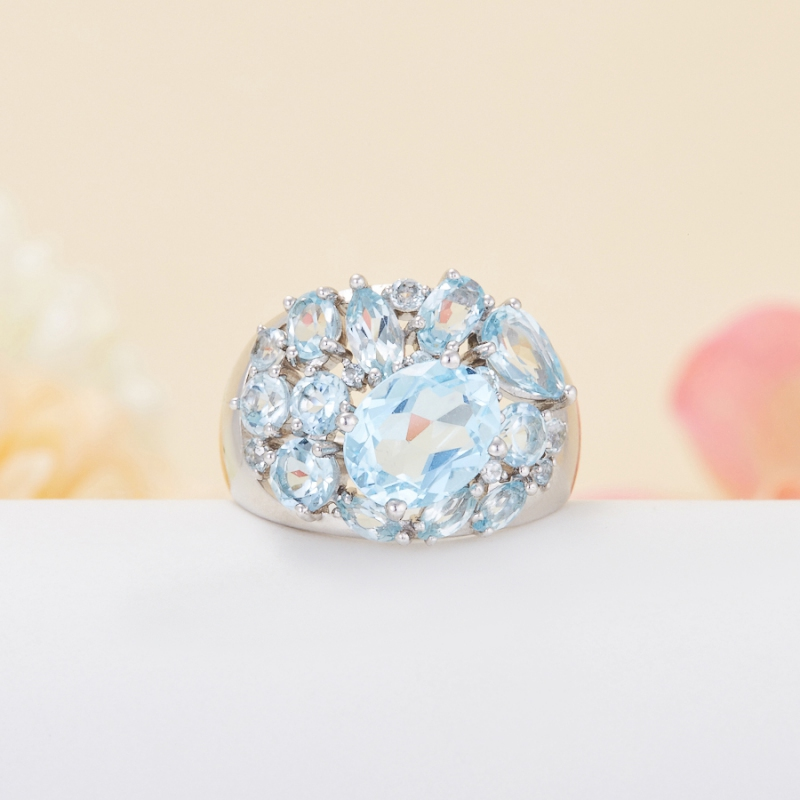 Кольцо топаз голубой огранка (серебро 925 пр.) размер 17,5 кольцо коюз топаз кольцо л22501021