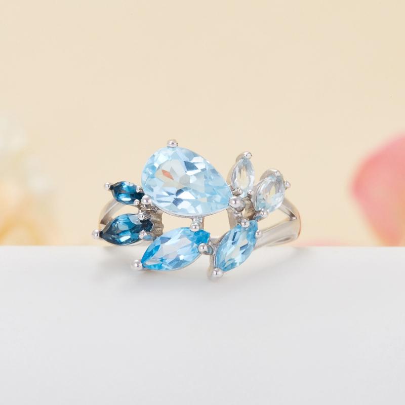 Кольцо топаз голубой, лондон огранка (серебро 925 пр.) размер 19 кольцо коюз топаз кольцо т101018156