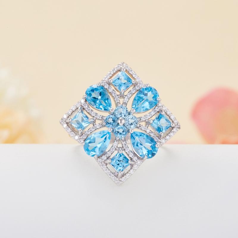 Кольцо топаз голубой огранка (серебро 925 пр.) размер 16,5 кольцо коюз топаз кольцо т145612634
