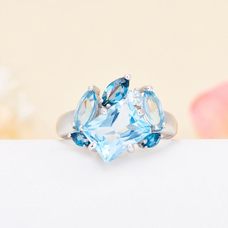 Кольцо топаз голубой, swiss, лондон  огранка (серебро 925 пр.) размер 18,5