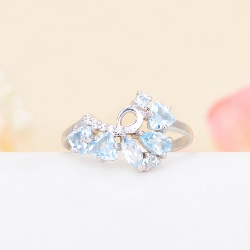 Кольцо топаз голубой огранка (серебро 925 пр.) размер 17 кольцо коюз топаз кольцо л22501021