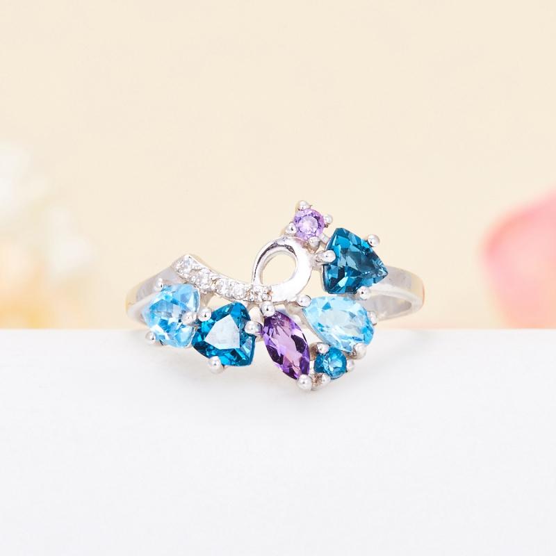 Кольцо микс аметист топаз голубой, лондон огранка (серебро 925 пр.) размер 19,5 кольцо коюз топаз кольцо т141017038
