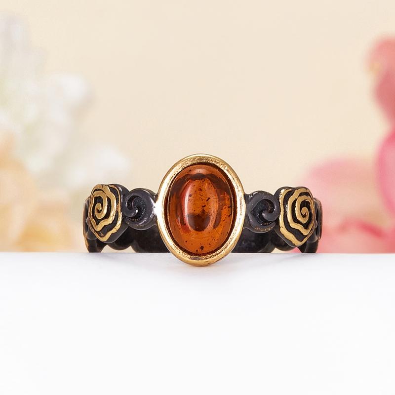 Кольцо янтарь Россия (серебро 925 пр., позолота) размер 15,5