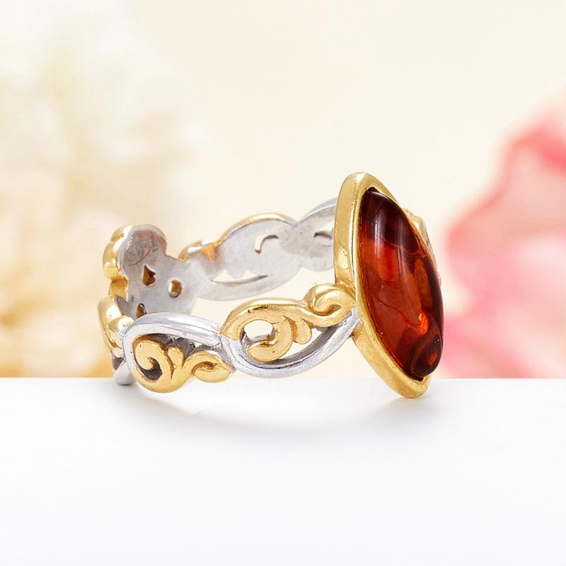 Кольцо янтарь Россия (серебро 925 пр., позолота) размер 14,5