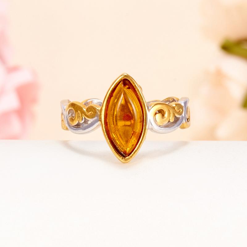 Кольцо янтарь  (серебро 925 пр., позолота) размер 16,5 кольцо янтарь серебро 925 пр размер 20 5