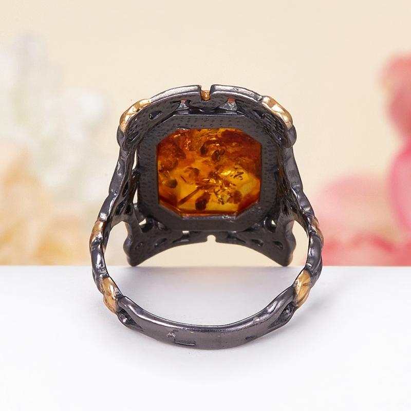 Кольцо янтарь Россия (серебро 925 пр., позолота) размер 15