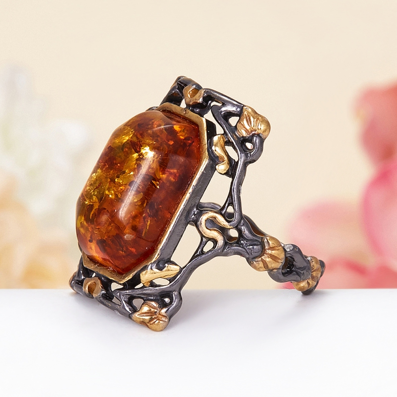 Кольцо янтарь Россия (серебро 925 пр., позолота) размер 22