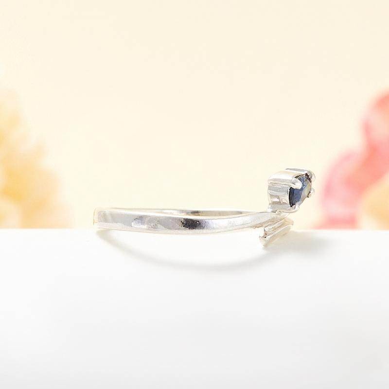 Кольцо сапфир Индия огранка (серебро 925 пр.) размер 19,5
