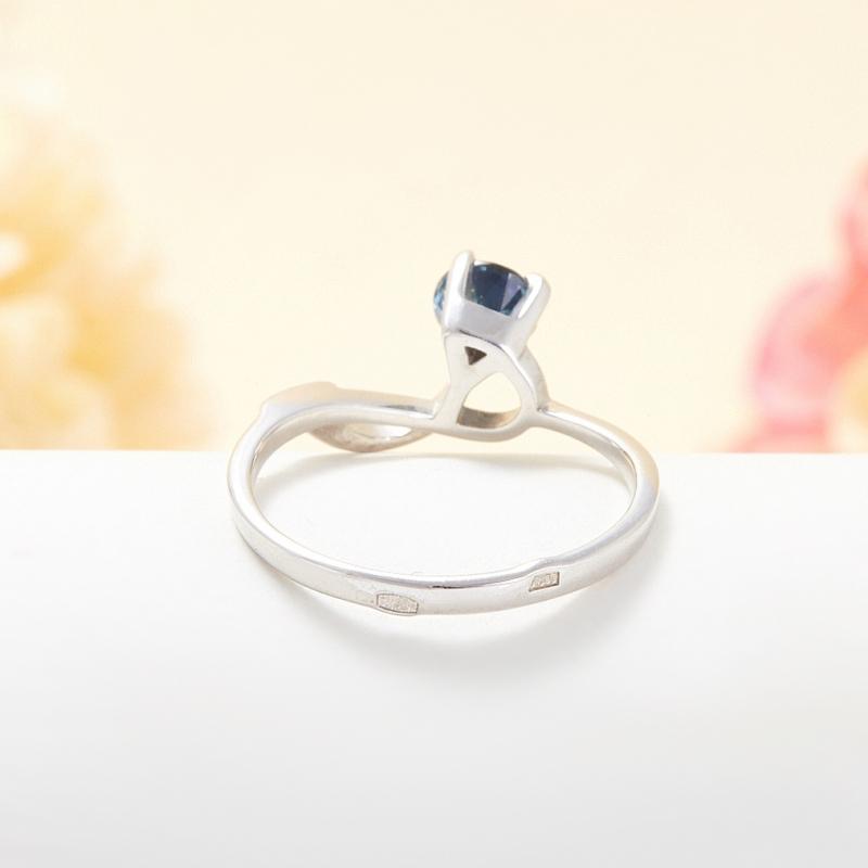 Кольцо сапфир Индия огранка (серебро 925 пр.) размер 15