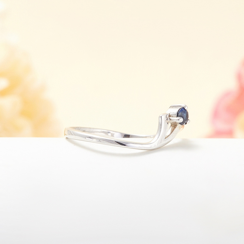 Кольцо сапфир Индия огранка (серебро 925 пр.) размер 18,5