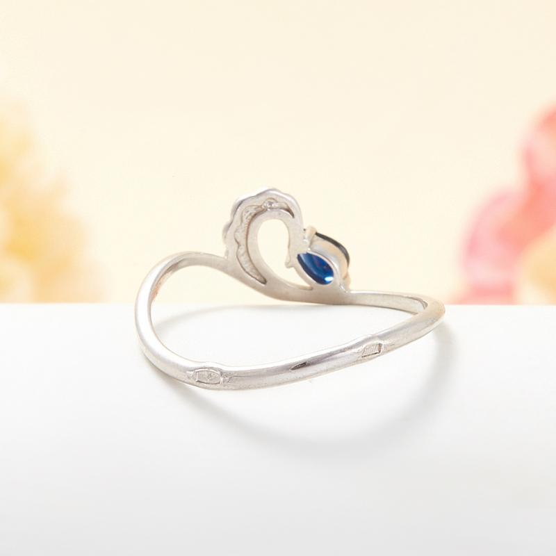 Кольцо сапфир Индия огранка (серебро 925 пр.) размер 24
