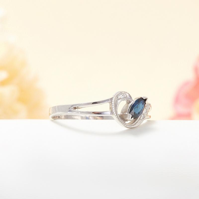 Кольцо сапфир Индия огранка (серебро 925 пр.) размер 23,5