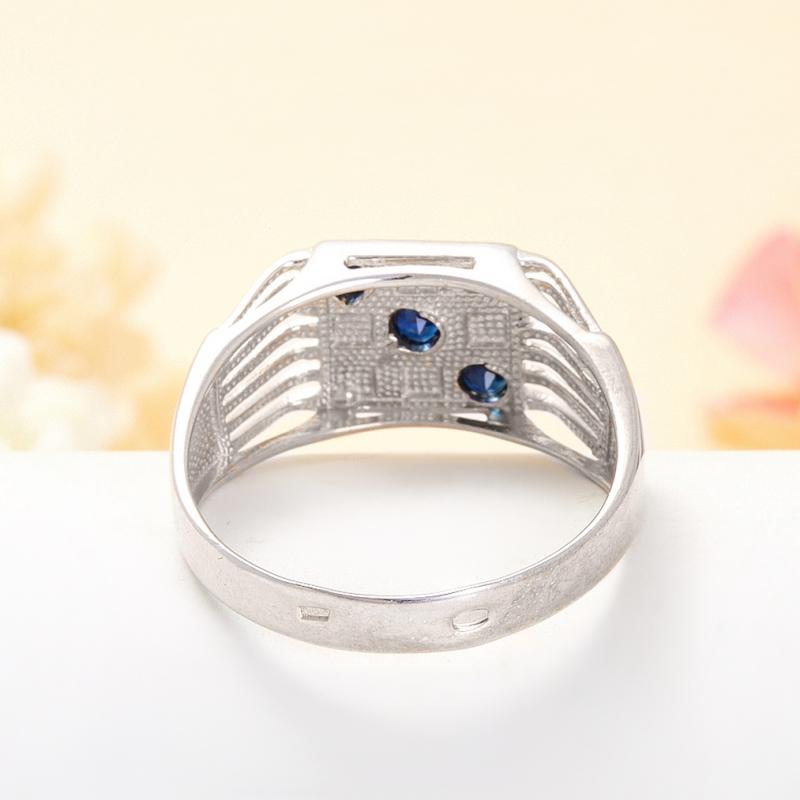 Кольцо сапфир Индия огранка (серебро 925 пр.) размер 23