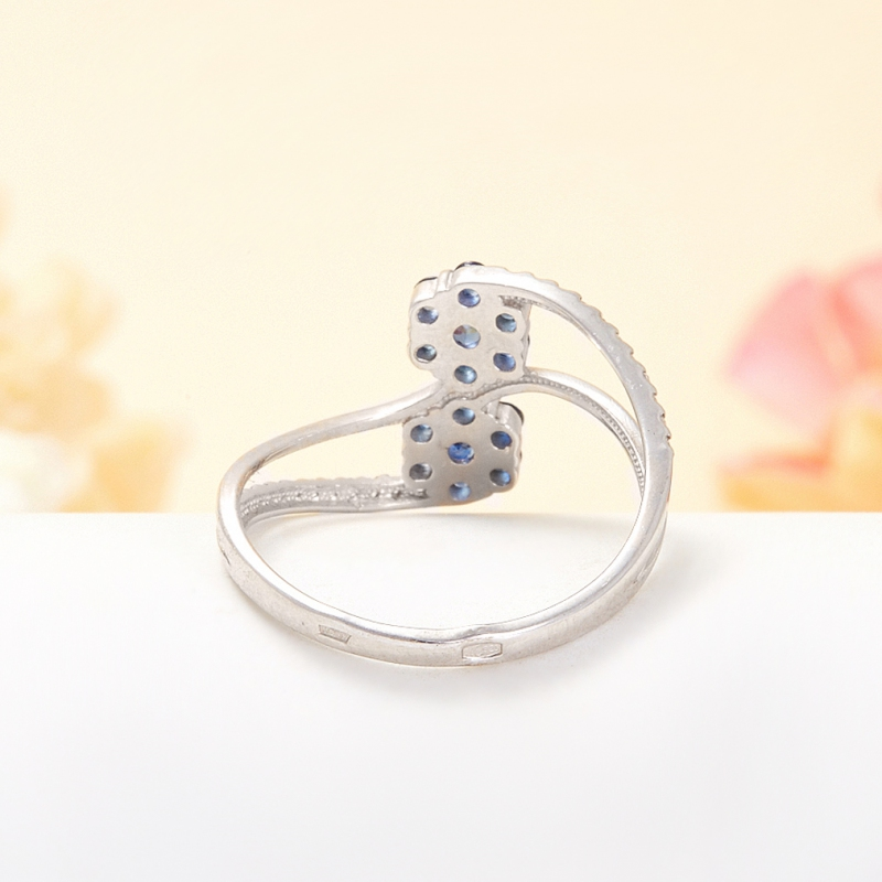 Кольцо сапфир Индия огранка (серебро 925 пр.) размер 21,5