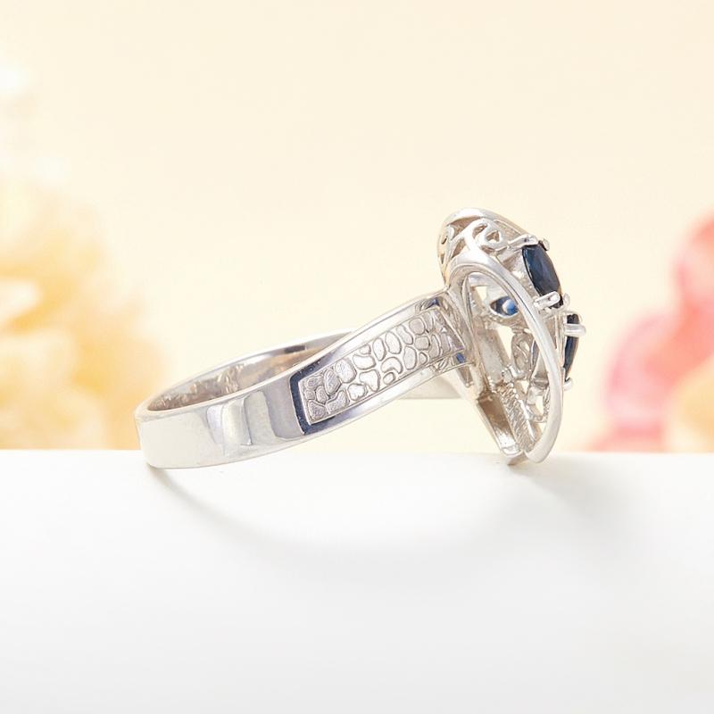 Кольцо сапфир Индия огранка (серебро 925 пр.) размер 19