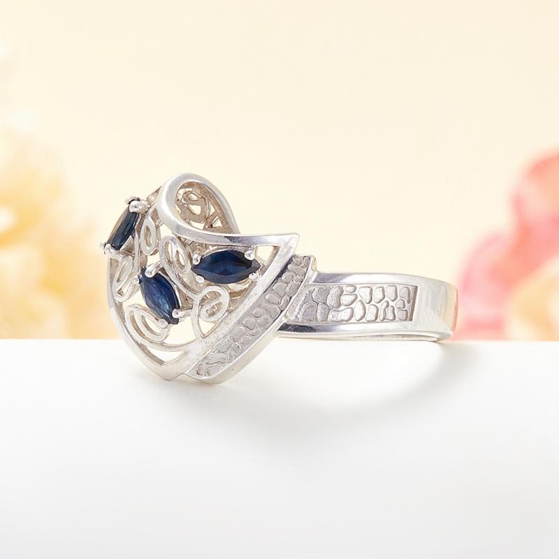 Кольцо сапфир Индия огранка (серебро 925 пр.) размер 25
