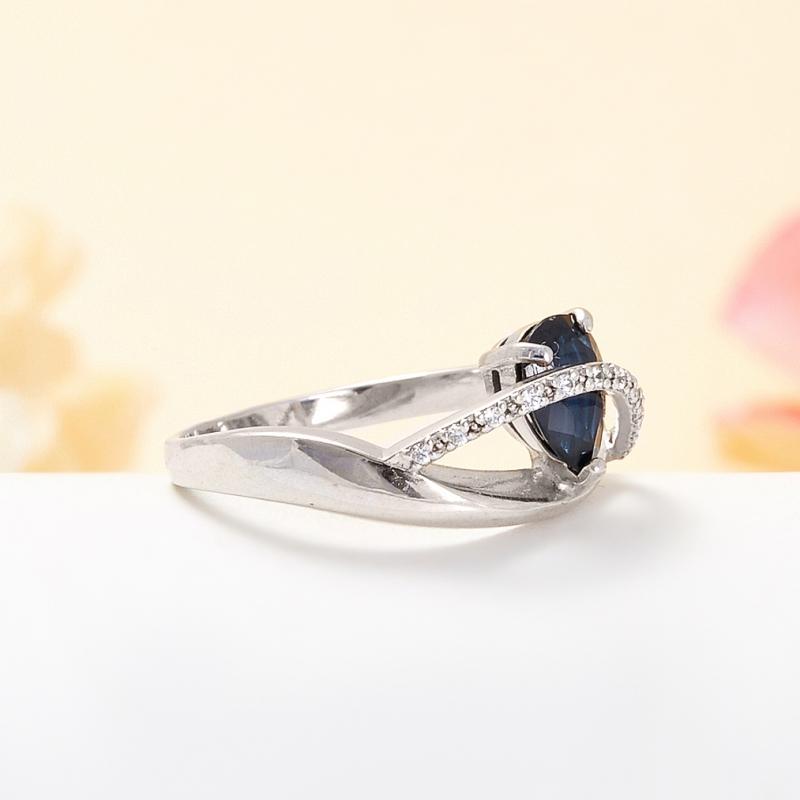 Кольцо сапфир Индия огранка (серебро 925 пр.) размер 16