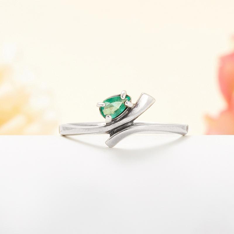 Кольцо изумруд  огранка (серебро 925 пр.) размер 18 кольцо авантюрин зеленый серебро 925 пр размер 18