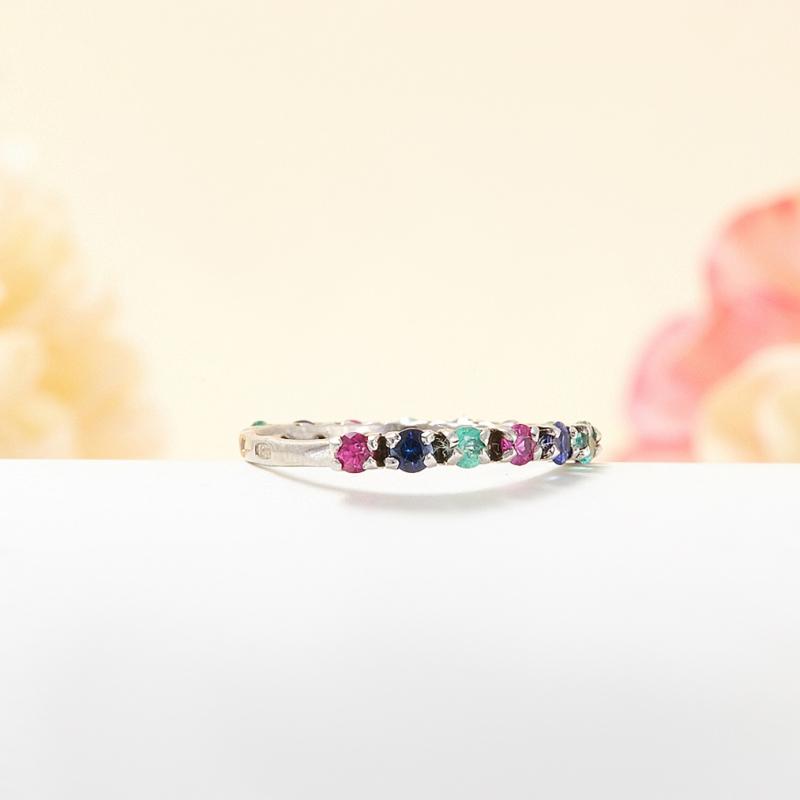Кольцо микс изумруд рубин сапфир огранка (серебро 925 пр.) размер 18