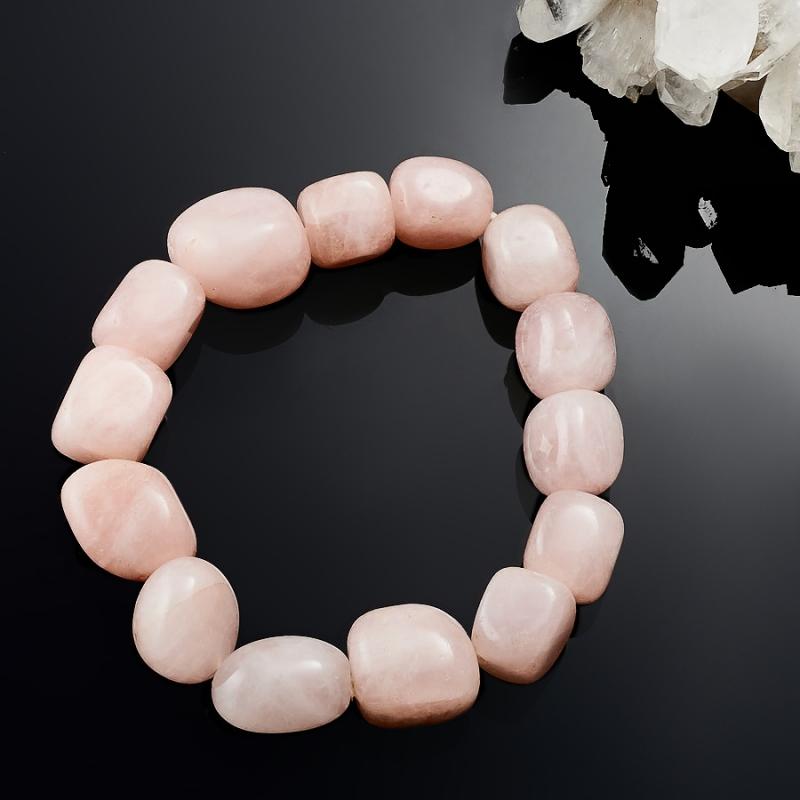 Браслет розовый кварц 18 cм браслет змеевик 18 cм