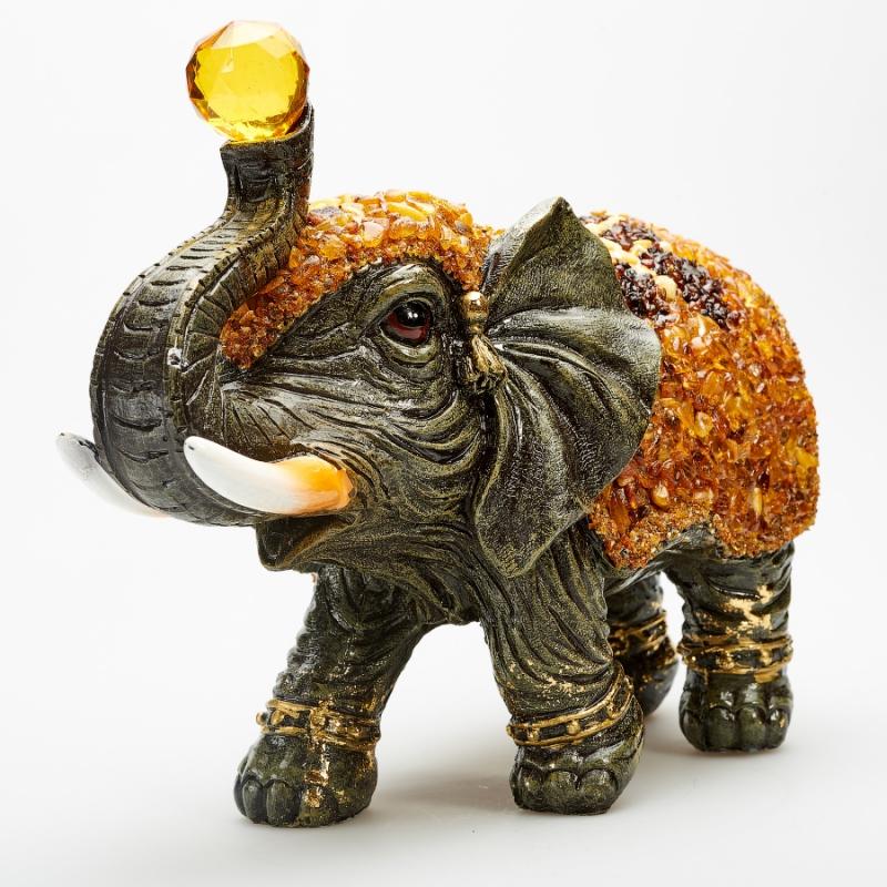Слон янтарь  28х20х12 см