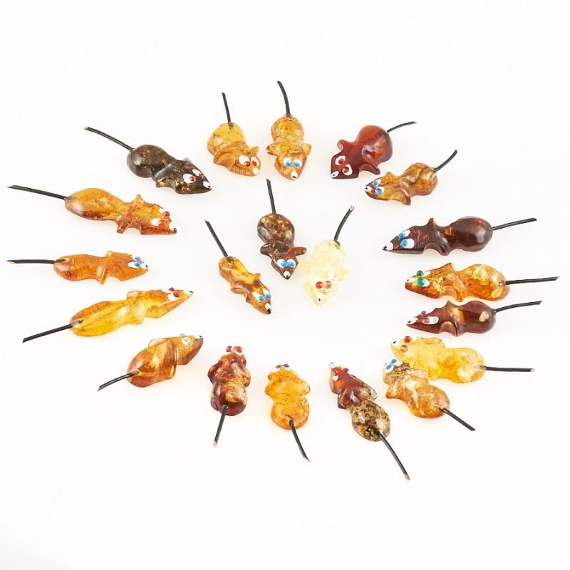 Мышка кошельковая янтарь  3 см