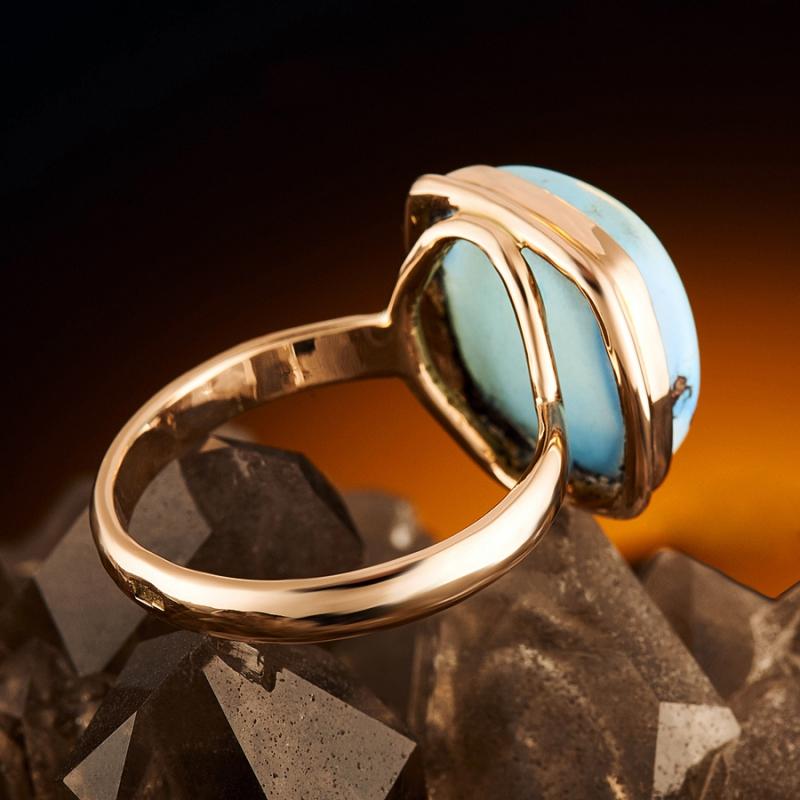 Кольцо бирюза Казахстан (золото 585 пр.) размер 17,5