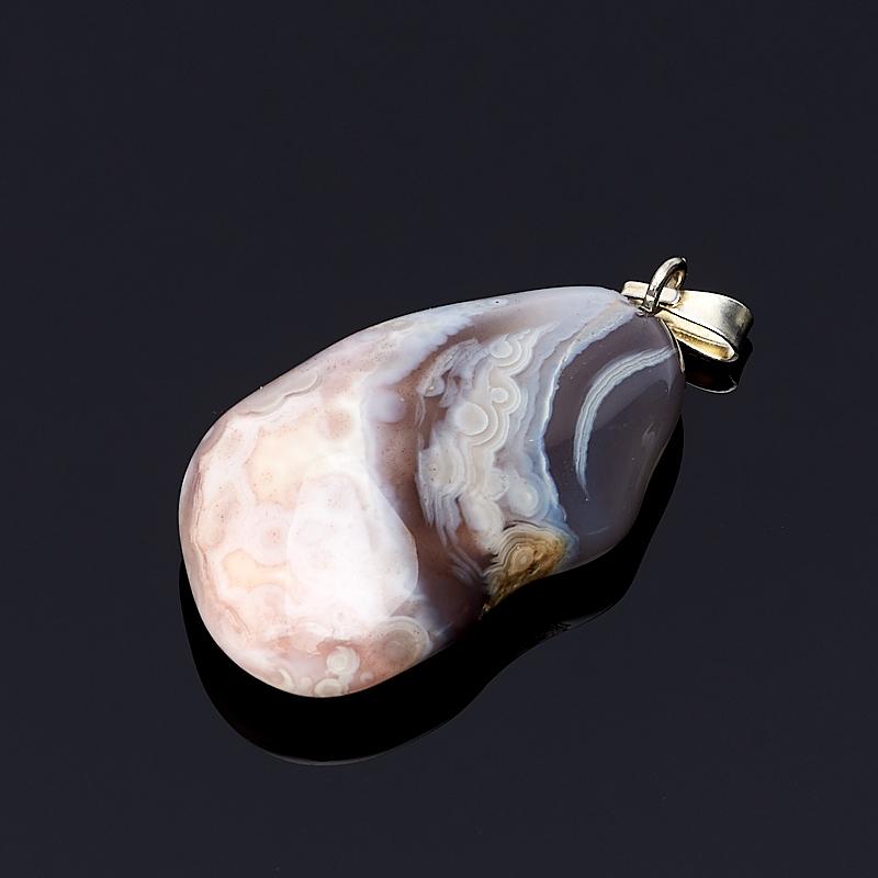 Кулон агат розовый Ботсвана (биж. сплав) галтовка 1,5-3 см
