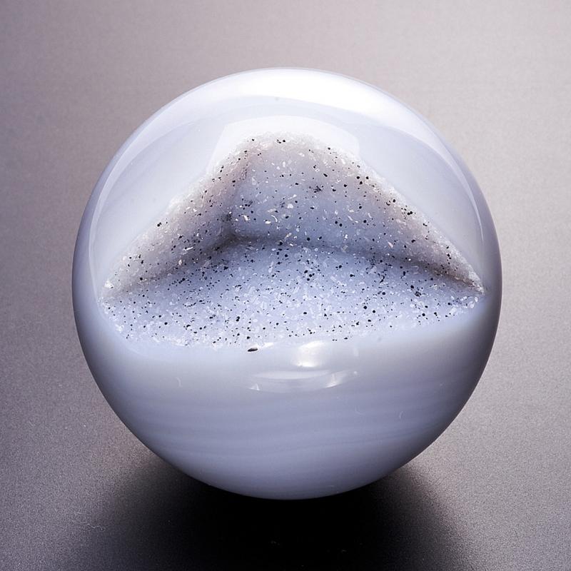 Уникальный шар-жеода агат серый  7 см