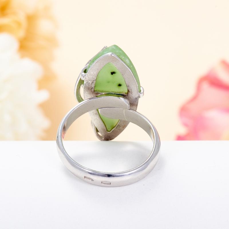 Кольцо нефрит зеленый Россия (серебро 925 пр.) (регулируемый) размер