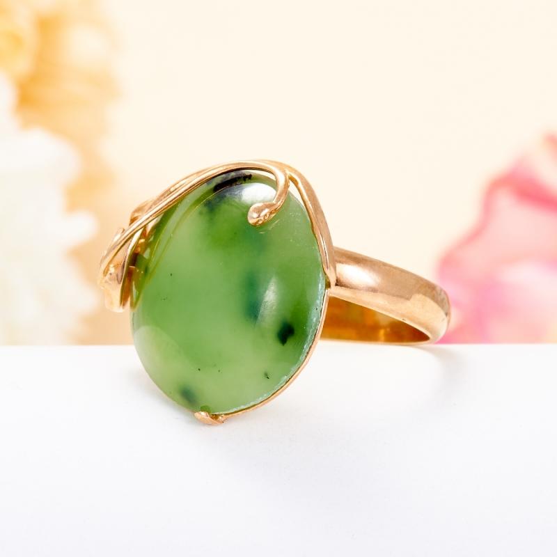 Кольцо нефрит зеленый Россия (серебро 925 пр., позолота) (регулируемый) размер