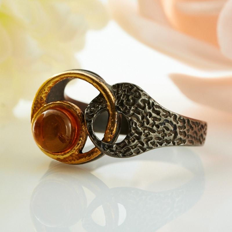 Кольцо янтарь  (серебро 925 пр., позолота) размер 16,5