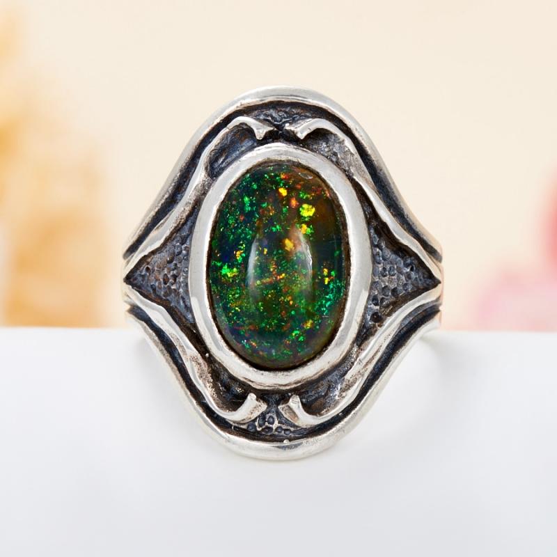 Кольцо опал благородный желтый  (серебро 925 пр.) размер 19