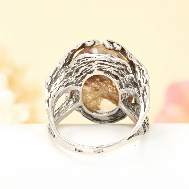 [del] Кольцо кварц с хлоритом Бразилия (серебро 925 пр.) размер 15