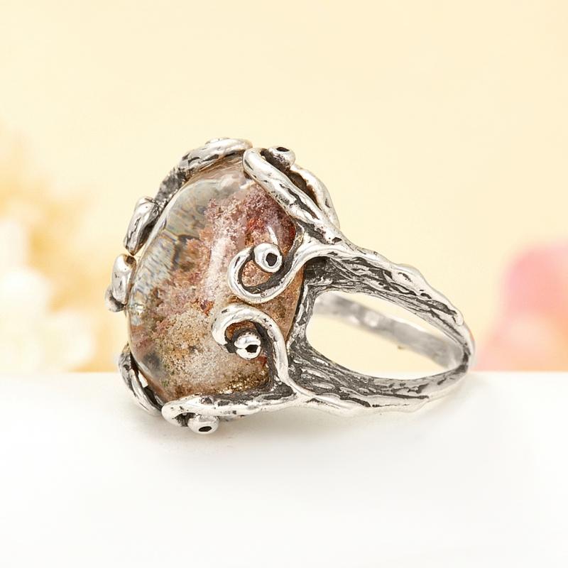 [del] Кольцо кварц с хлоритом Бразилия (серебро 925 пр.) размер 16,5