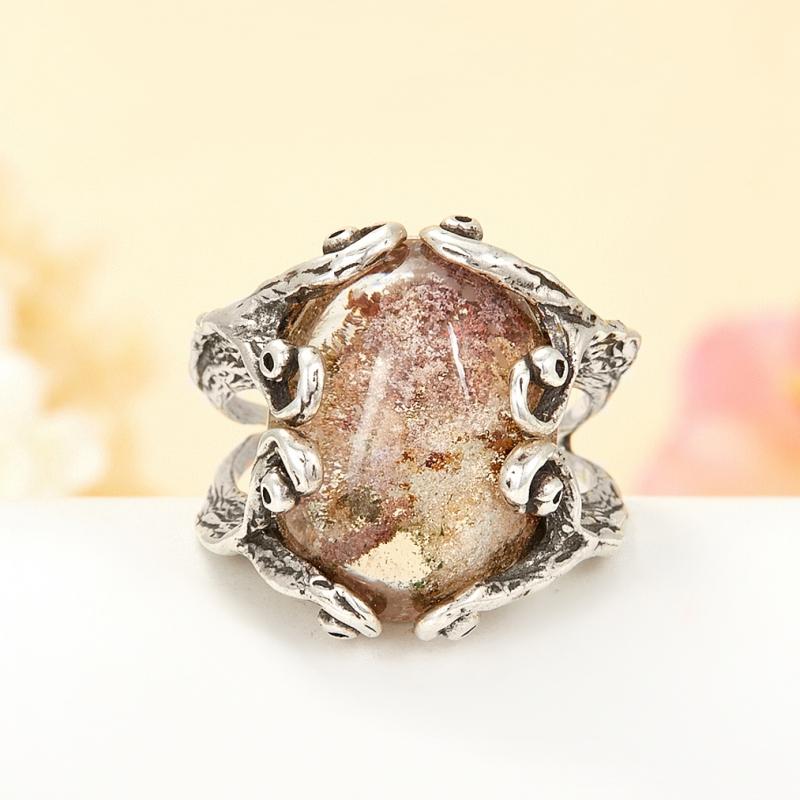 [del] Кольцо кварц с хлоритом Бразилия (серебро 925 пр.) размер 19