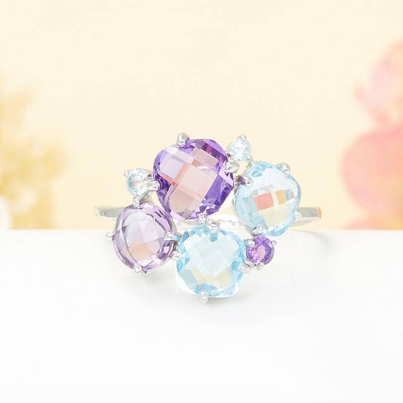 Кольцо микс аметист топаз голубой огранка (серебро 925 пр.) размер 19 кольцо коюз топаз кольцо т141017038