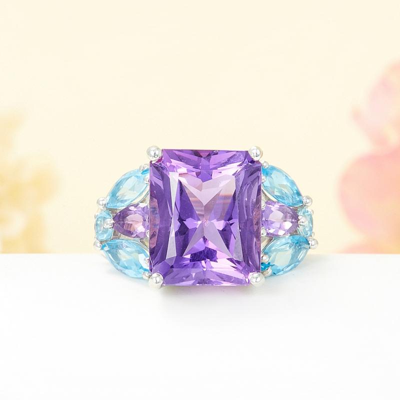 Кольцо микс аметист топаз голубой огранка (серебро 925 пр.) размер 19 кольцо коюз топаз кольцо т142019037