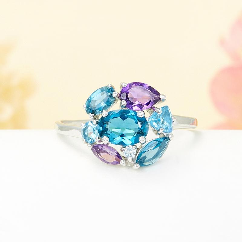 Кольцо микс аметист топаз голубой, лондон огранка (серебро 925 пр.) размер 17 кольцо коюз топаз кольцо т142015055