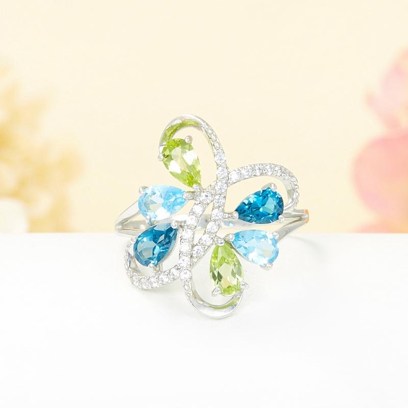 Кольцо микс топаз голубой, лондон хризолит огранка (серебро 925 пр.) размер 20 кольцо голубой топаз chantal кольцо голубой топаз