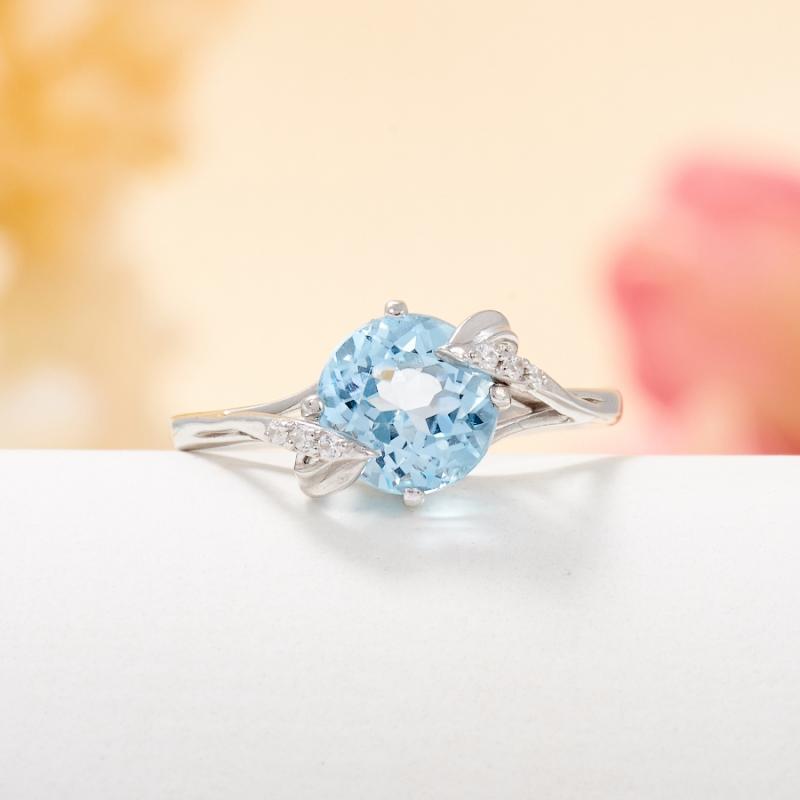 Кольцо топаз голубой огранка (серебро 925 пр.) размер 18,5 кольцо коюз топаз кольцо т148017982
