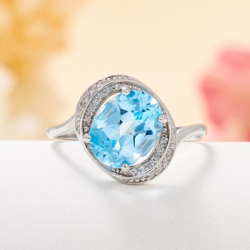 Кольцо топаз голубой огранка (серебро 925 пр.) размер 18 кольцо коюз топаз кольцо т303015695